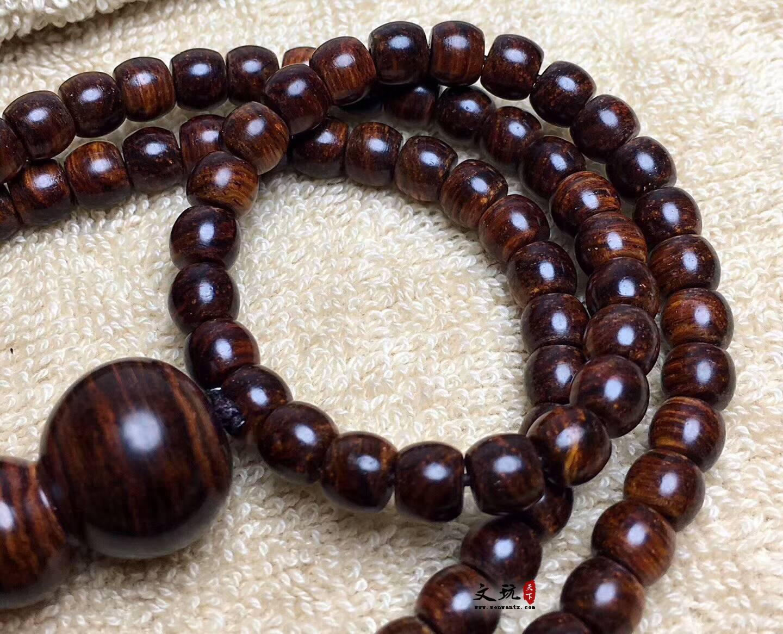 海南黄花梨6X7.5手串苹果圆咖啡底虎皮纹 搭配葫芦三通精美难得