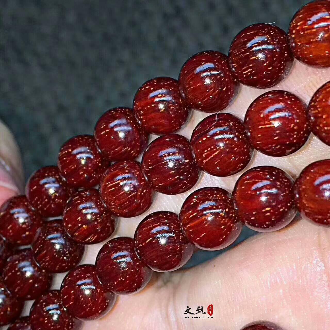0.8小叶紫檀鸡血红满星 颗颗肉中细星保价升值手串