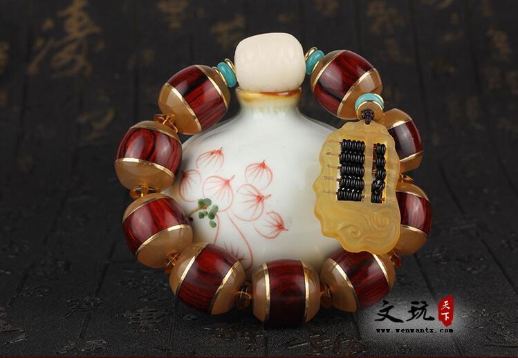 天然红色小叶紫檀桶珠镶嵌羊角原创佛珠单圈手串 搭配富甲天下算盘