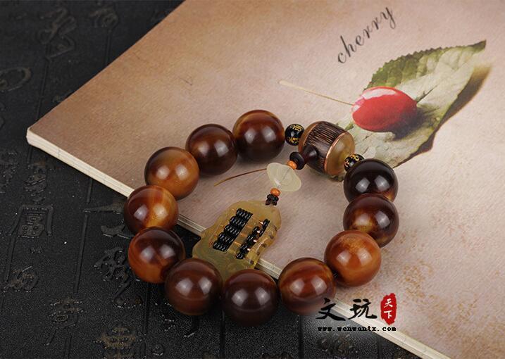 正宗西藏民族风牦牛角棕色圆珠单圈手串佛珠手链原创搭配