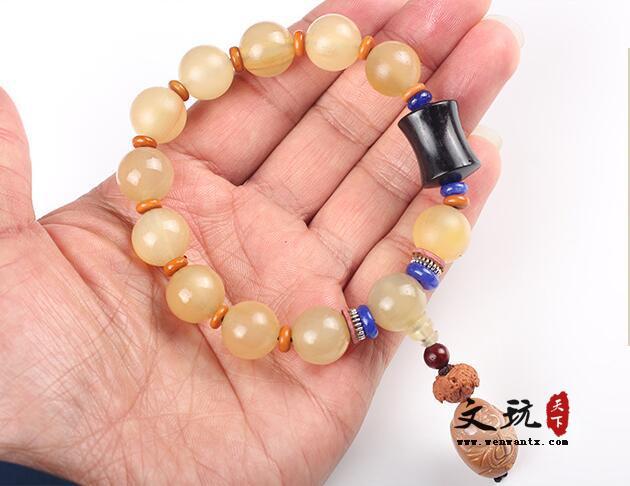 天然无优化羊角圆珠单圈佛珠手串 原创设计高山羊角藏式民族风饰品