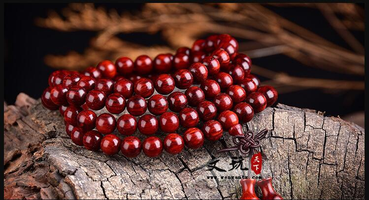 印度小叶紫檀手链 野生小叶紫檀老料火焰纹满金星0.8*108颗