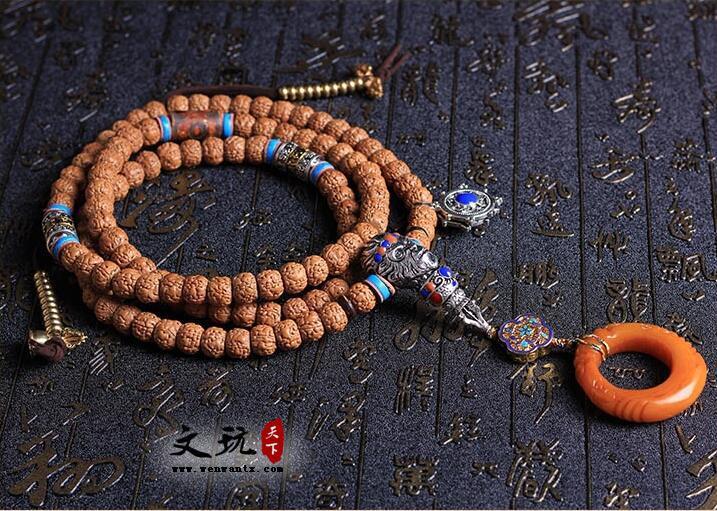 天然罕见精品5瓣肌肉纹金刚菩提108颗藏式打磨桶珠搭配大圣佛三通