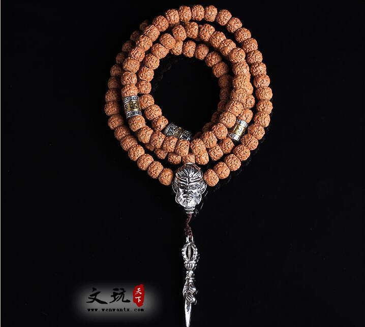 精品天然藏式5瓣金刚菩提籽108颗佛珠手链打磨五瓣肌肉纹金刚菩提