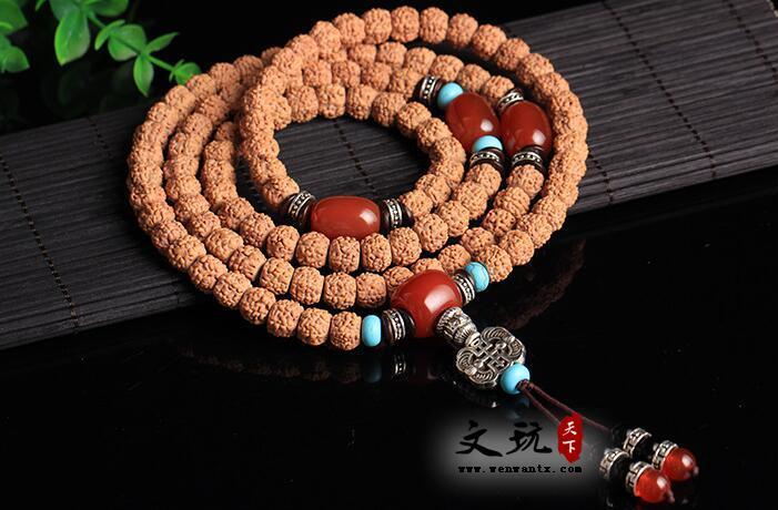 正宗天然5五瓣金刚菩提藏式打磨桶珠姜黄皮肉纹108颗佛珠