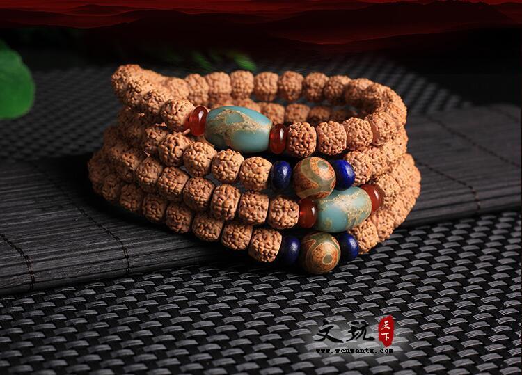 藏式天然五5瓣肉纹小金刚菩提原籽108颗手工艺品 寿松石款菩提子