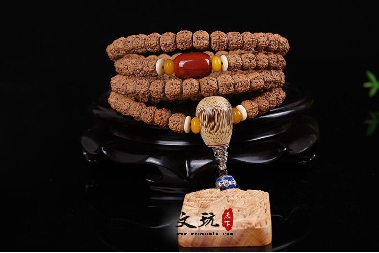 原创天然精品藏式打磨五5瓣小金刚菩提108佛珠手链姜黄皮