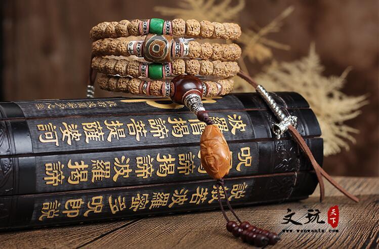 原创金刚菩提五瓣爆肉纹108颗藏式金刚手串佛珠手链