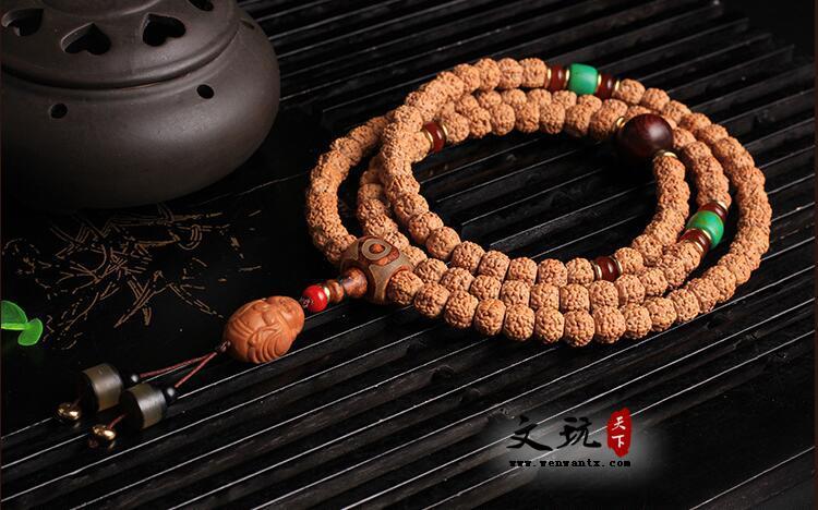 天然精品藏式打磨五瓣金刚菩提桶珠108颗佛珠手链