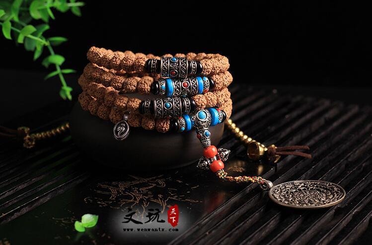 原创设计天然藏式打磨五5瓣桶珠108颗佛珠手链