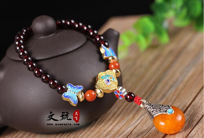 正宗石榴石手链精品5A级女士石榴石手串搭配纯手工尼泊尔铜珠