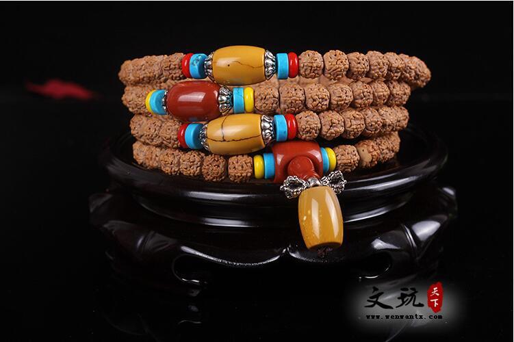 天然5五瓣藏式打磨金刚菩提108颗佛珠手链姜黄皮肉纹金刚