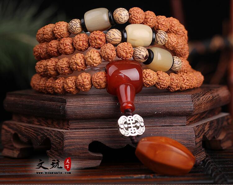 原创天然精选尼泊尔108颗金刚菩提佛珠手串搭配牛角桶珠款