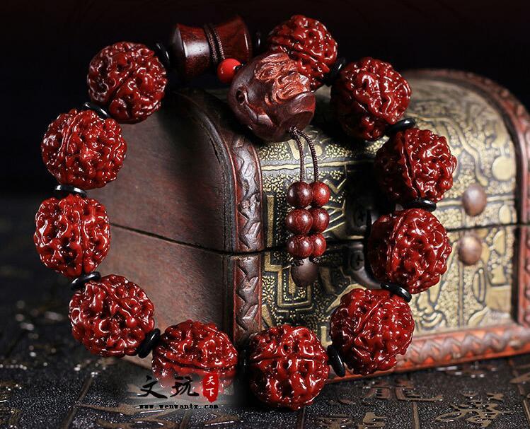 天然五5瓣机刷大金刚菩提子佛珠手串 小叶紫檀十八罗汉款配饰手链