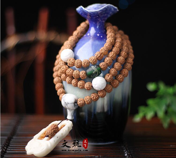 天然尼泊尔小金刚菩提108颗手链饰品 五瓣红皮爆肉纹菩提子手串