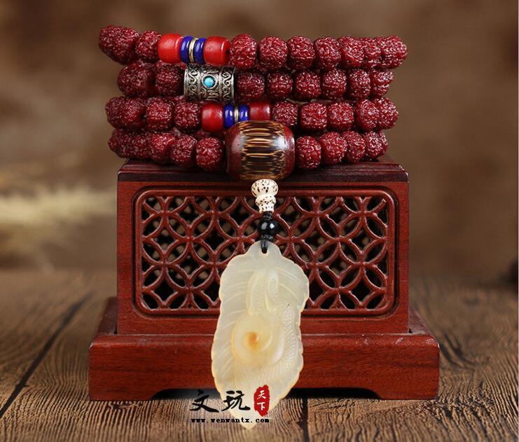 原创正宗尼泊尔五瓣机刷藏式五瓣金刚菩提佛珠手串手链羊角蜗牛款