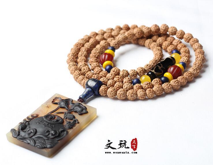 尼泊尔蛤蟆背六瓣金刚菩提108颗佛珠手串搭配羊角聚宝盆牌