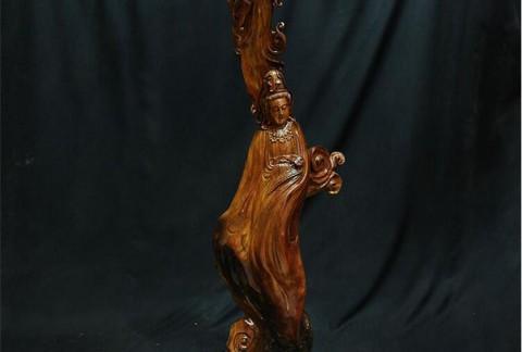 天然原木根雕老挝花梨艺术品办公家居观音摆件中国古典木质工艺品